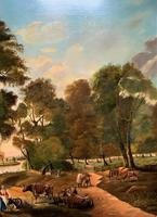 Huge Fabulous 19thc Continental Farming Country Landscape Oil Painting (8 of 19)