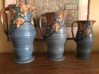 Carlton Ware Embossed Jugs Blue Nightime Oak Pattern c.1935 (2 of 11)