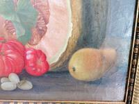 19th Century Still Life with Grapes, Pumpkin, Tomatoes Oil on Canvas (2 of 12)