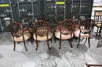 1960s Set 8 Mahogany Shieldback Carver Chairs Pale Pink (4 of 4)