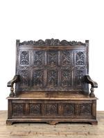 Antique Victorian Carved Oak High Back Settle (8 of 15)