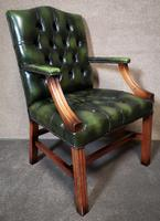Green Leather Georgian Style Chesterfield Gainsborough Library / Office Chair (3 of 8)