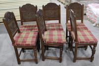 1900s -Set of 6 Oak Quality Carved Dining Chairs with Tartan Cushions (2 of 4)