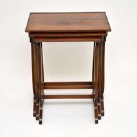 Antique Regency Style Yew Wood Nest of Tables (4 of 8)