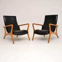 Pair of Vintage Leather Armchairs in the Manner of Vladimir Kagan (2 of 15)