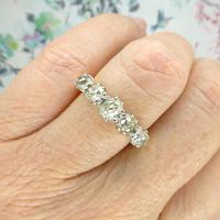 Vintage 18ct Old Mine Cut Diamond Five Stone Ring 1.35ct (2 of 10)