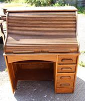 1920s Single Pedestal Oak Stype Rolltop Desk (3 of 6)