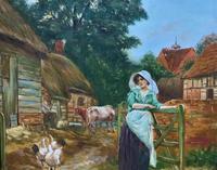 Wonderful Original Signed Vintage Oil Painting - Pretty Milkmaid in Farmyard (8 of 12)
