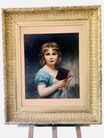Beautiful Edouard Cabane Original Oil Painting - Jeune Fille Avec Livre c.1906