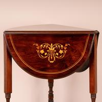 Edwardian Inlaid Rosewood Drop Leaf Occasional Table (18 of 23)