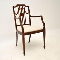 Pair of Antique Edwardian Inlaid  Mahogany Armchairs (4 of 12)