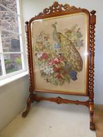 Large 19th Century Needlepoint Fire Screen