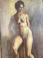 Antique Nude Oil Painting Portrait of Seated Figure by Alys Woodman RBSA (5 of 10)