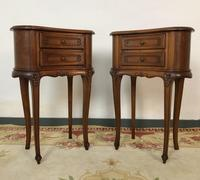 Vintage French Cherrywood Cabinets Kidney Shaped Bedside Tables (9 of 10)
