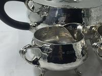 Solid Silver tea set service planished design art nouveau Charles Edwards 1919 (7 of 9)