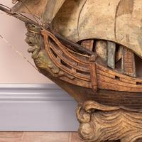 Carved Wooden Galleon Model (6 of 9)