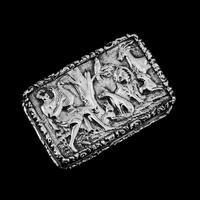 "Rare Antique Georgian Solid Silver Vinaigrette Figural Scene with Animals & Harp ""Orpheus Enchanting Animals""- Joseph Taylor 1827 (2 of 18)"