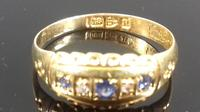 Late Victorian Diamond Blue Sapphire Dainty Gypsy Ring L 1/2 (9 of 11)
