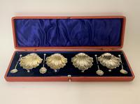 Set of 4 Antique Solid Silver Shell Salts and Spoons