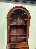 Antique Slim Figured Walnut Bookcase (6 of 12)