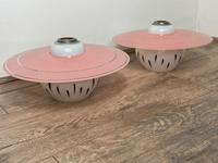Pair of Stylish French 1960's Glass Pink White Hat Lamp Shades (40 of 40)