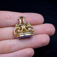 Antique Sardonyx Gold Cased Fob Seal Pendant Charm (9 of 9)