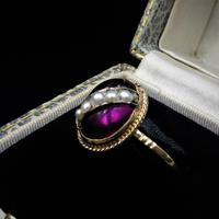 Antique Cabochon & Pearl Stripe 14K Gold Conversion Ring (3 of 8)