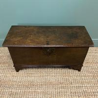 Small Period Oak Six Plank Antique Coffer (5 of 7)