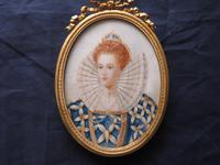 "4 3/4"" high Miniature Portrait Elizabeth 1st. Ormolu Frame"