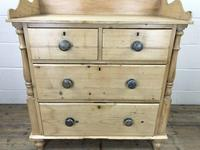 Victorian Antique Pine Chest of Drawers with Gallery Back (5 of 10)