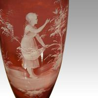Pair of Mary Gregory Cranberry Glass Vases Maidens (3 of 3)