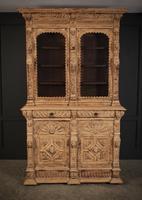 Carved Raw Oak Glazed Bookcase (11 of 21)