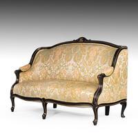 Fine Mid 19th Century Ebonised Mahogany Sofa