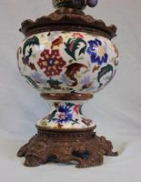 Antique Pottery Oil Lamp & Shade Globe (3 of 12)