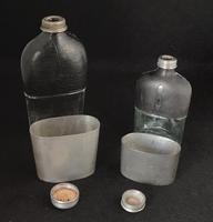 Two Mid Victorian Pewter, Leather Bound & Glass Hip Flasks (3 of 3)