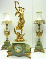 Incredible Art Nouveau Dancing Figural Mantel Clock Set 8 Day Striking Mantle Clock  with Side Lamps (5 of 15)