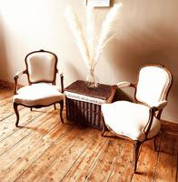French Antique Style Chairs / Louis XV Armchairs / Walnut Chairs / Fauteuils (2 of 8)