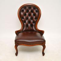 Victorian Style Leather Spoon Back Chair (7 of 9)