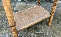 Antique Victorian Bamboo & Rattan Occasional Side Table (8 of 9)