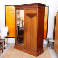 Wardrobe Walnut Mirrored Compactum Armoire Victorian (2 of 5)