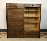 Vintage French Mid Century Filing Cabinet Tambour Roller (6 of 11)