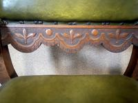 Late Victorian Carved Oak & Leather Armchair (2 of 14)