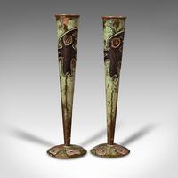 Pair of Antique Flute Vases, French, Copper, Posy, Art Nouveau Taste c.1920 (2 of 12)