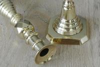 "Pair of Large Victorian Beehive & Diamond Brass Candlesticks c.1890 - Pushers 11.75"" (2 of 7)"