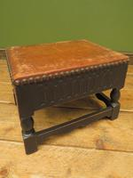 Small Vintage Wooden Black Painted Foot Stool with Brown Leather Top (13 of 17)