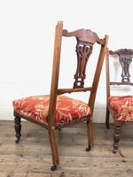 Pair of Antique Bedroom Chairs with Fabric Seats (7 of 7)