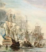 Battle of Trafalgar Marine Seascape Oil Painting (4 of 4)