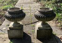 Weathered Reconstituted Pressed Stone Garden Urns (5 of 7)