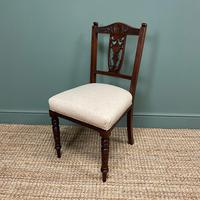 Set of Six Edwardian Walnut Antique Dining Chairs (5 of 8)