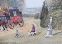 Large oil on canvas Old fashioned  view  Listed artist Richard Temple (7 of 10)